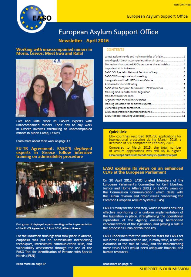 EASO Newsletter April 2016 EUROPEAN ASYLUM SUPPORT OFFICE