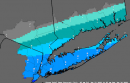 """The Jan. 22, 3:57 a.m. update of the """"most likely snow accumulation"""" map."""