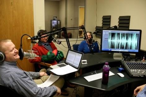 mark, belva, and brian in recording studio