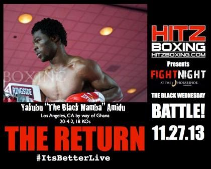 Yakubu Amidu returns to Hitz Boxings Fight Night at the Horseshoe