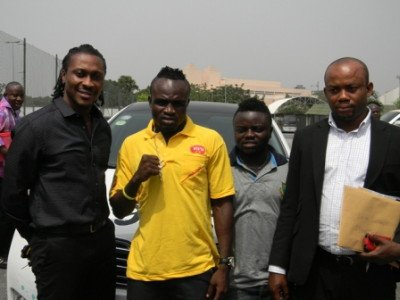 Baffour Gyan Game Boy his brother Bobby Short and Sammy Anim Addo at the launch BabyJet Promotions sign Emmanuel Tagoe on 3 year management deal