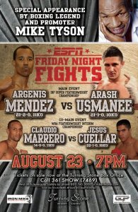 Argenis Mendez headlines Aug. 23rd ESPN FNF on Iron Mike Productions card