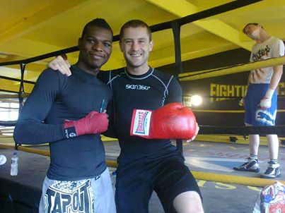 Richie Commey in Scotland sparring with Ricky Burns