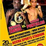 Emmanuel Tagoe returns against Pontillas in Accra April 20