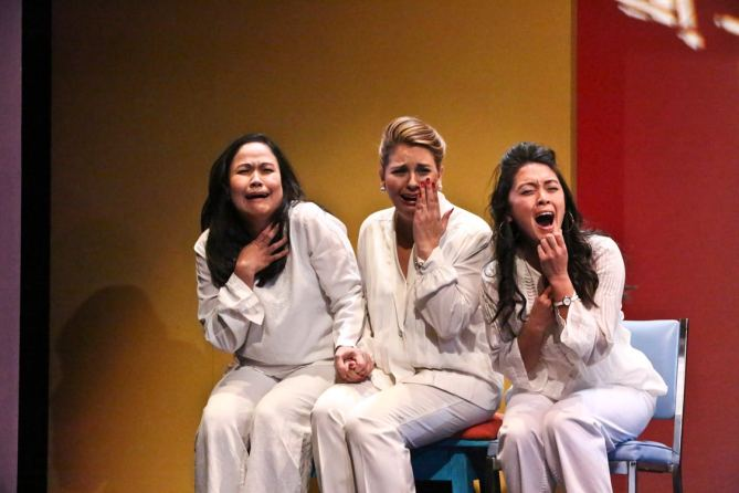 "(L-R) Joan Almedilla as Baby, Giselle ""G"" Töngi as Meding, and Samantha Cutaran as Henny in East West Players' world premiere production of Giovanni Ortega's ""Criers for Hire."" Photo by Michael Lamont."