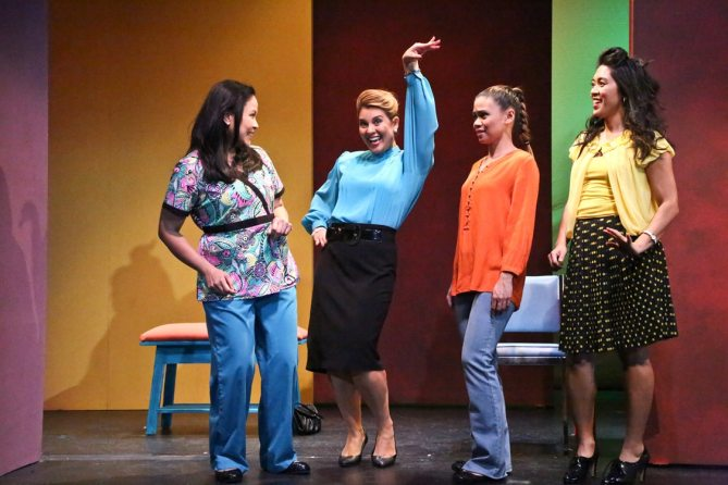 "(L-R) Joan Almedilla as Baby, Giselle ""G"" Töngi as Meding, Nicole Barredo as Gaya, and Samantha Cutaran as Henny in East West Players' world premiere production of Giovanni Ortega's ""Criers for Hire."" Photo by Michael Lamont."