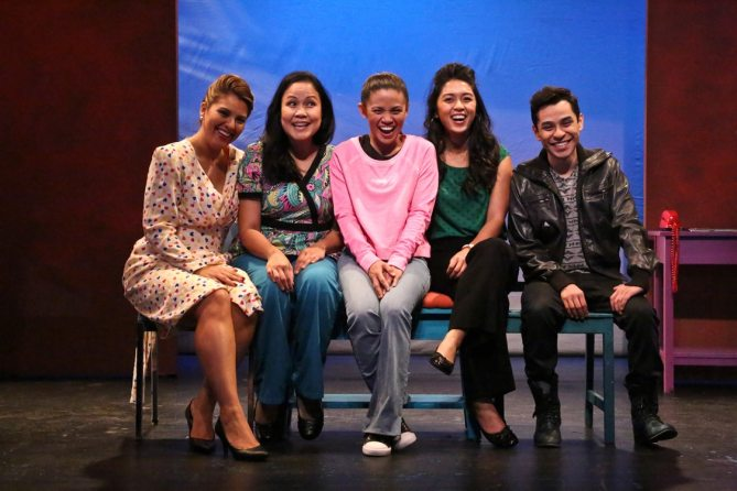 "(L-R) Giselle ""G"" Töngi as Meding, Joan Almedilla as Baby, Nicole Barredo as Gaya, Samantha Cutaran as Henny, and Rudy Martinez as Narcisco Triste in East West Players' world premiere comedy ""Criers for Hire"" written by Giovanni Ortega. Photo by Michael Lamont."