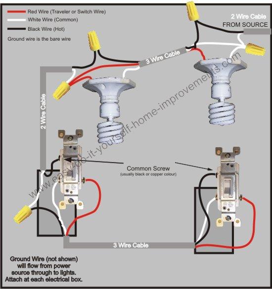3 way switch wiring red black white