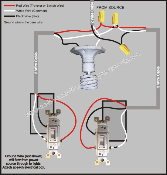 4 wire switch light wiring diagram d common