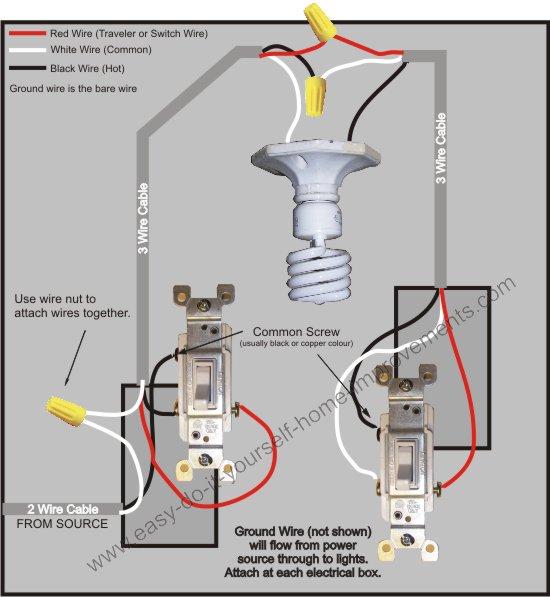three way wiring diagram with light