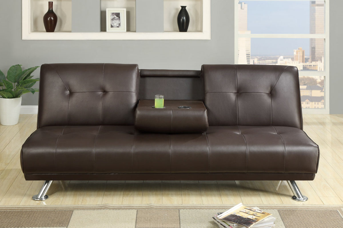 Espresso Faux Leather Sofa Bed With Cup Holders