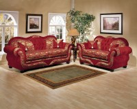 2 Piece Gold on Red Persian Style Sofa Set