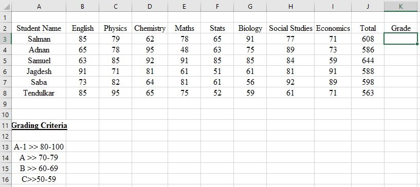 Result Card or Result Sheet Creation Using Excel - IF Formula to - how to make a sign in sheet using excel