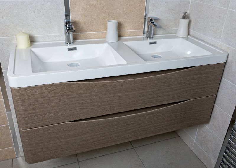 Eaton Grey Oak Bathroom Wall Hung Vanity Unit Resin Basin