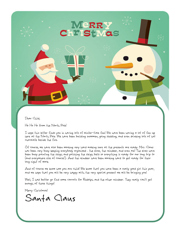 Easy Free Letters from Santa Customize your text and design and - christmas letter templates