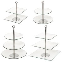 2 3 Glass Tiered Pastry Pie Wedding Cake Cupcake Platform ...