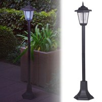 Solar Powered Garden Lights Lantern Lamp Black LED Pathway ...