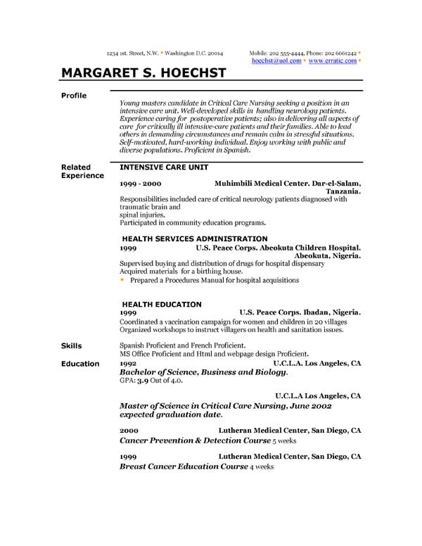 Resume Professional Profile Example | Resume Format Download Pdf