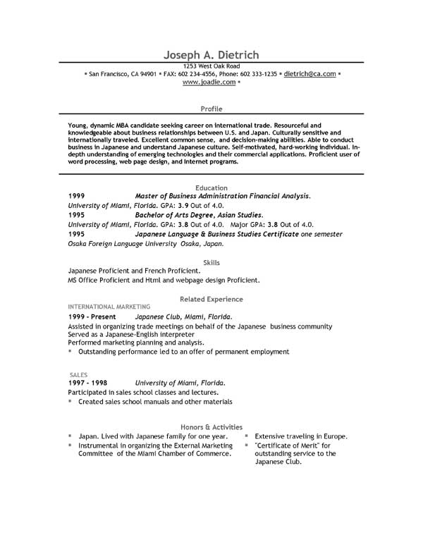 Free Microsoft Word Resume Template | Resume Cover Letter and ...