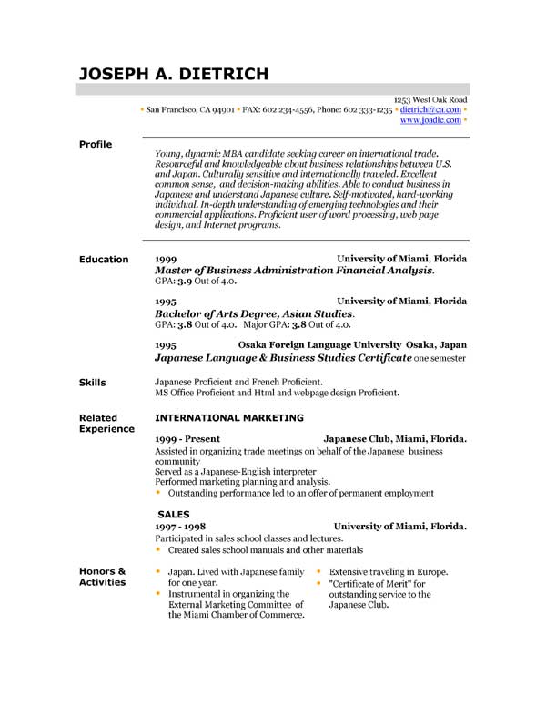 resume format template free download - Free Download Of Resume Format