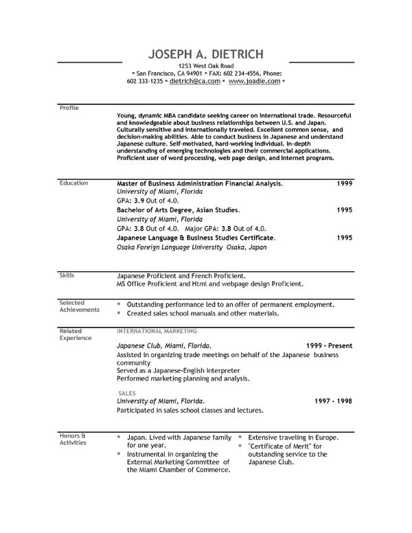 resume layout samples free