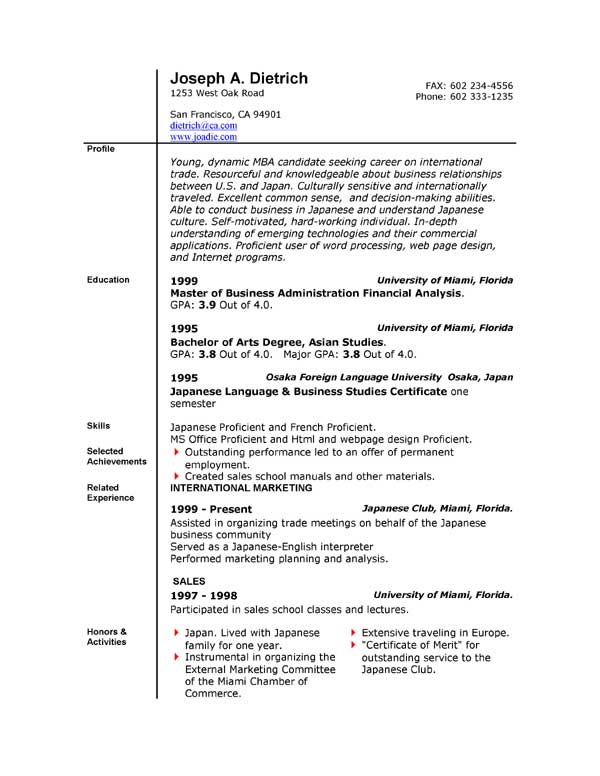 free resume template microsoft word free business resume template