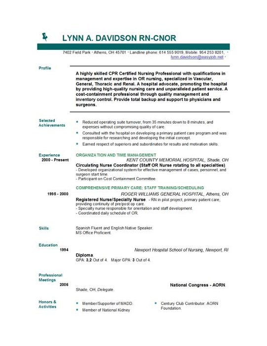 free registered nurse resume templates - Nursing Resumes Samples