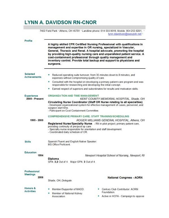 28+ Registered Nurse Resume Template Nursing Resume Sample Amp - example of registered nurse resume
