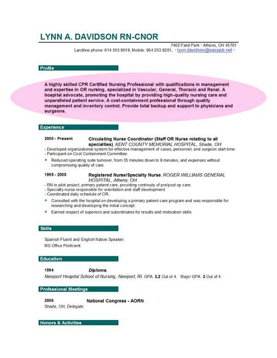 sample resume for nurses objectives