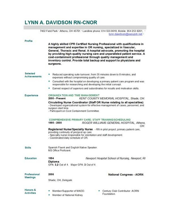 Professional writing website in nursing cv