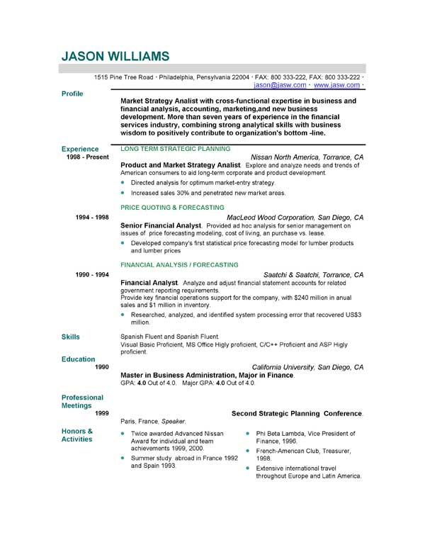 sample cv resume template - resume example format
