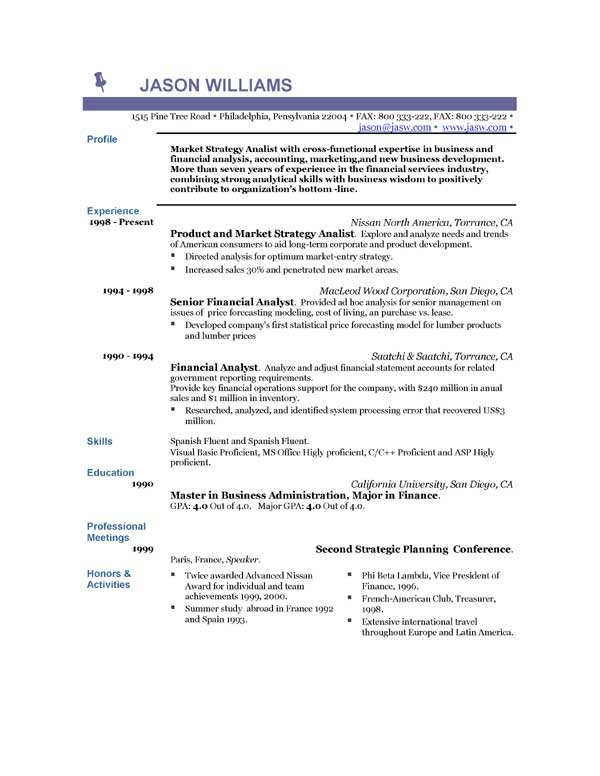 Resume double major format