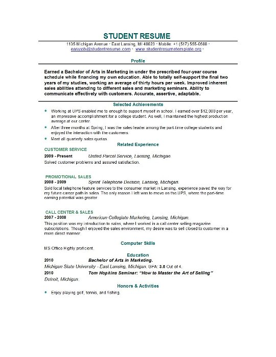 Student resume builder