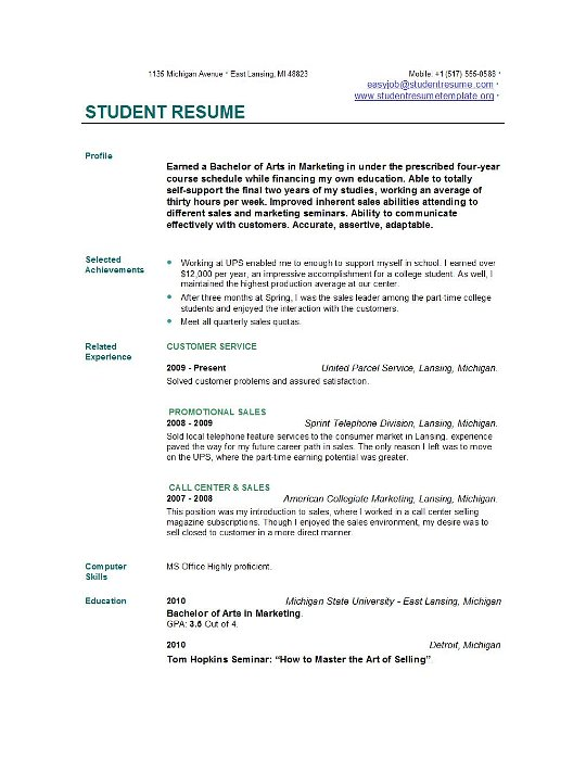 Example Of Resume For College Student Undergraduate Resume Format