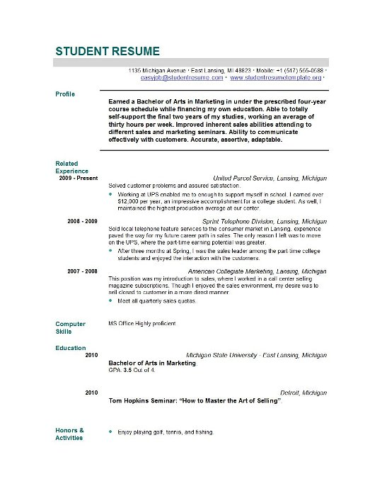Student Resume Templates Student Resume Template EasyJob - sample of resume for students
