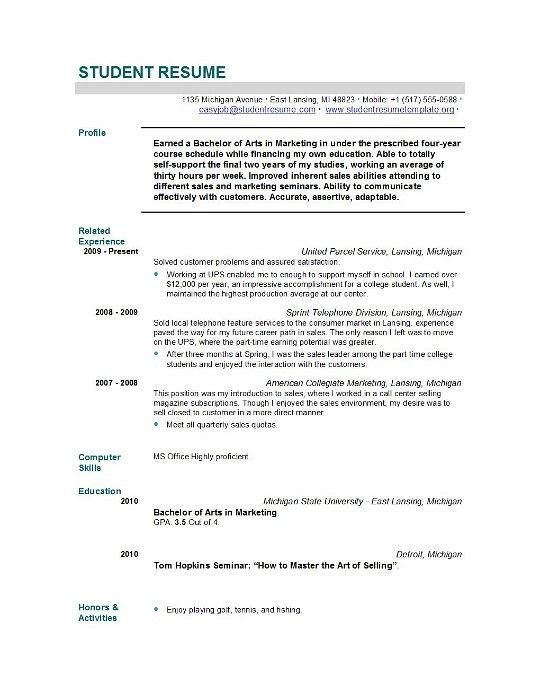 recent grad resume examples