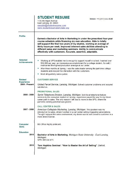 Student Resume Templates Student Resume Template EasyJob - Basic Job Resume Template