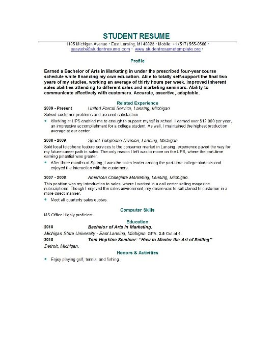 Resume For Recent Graduate Student | Free Resume Examples