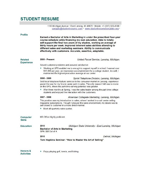 Example Of A New Resume New Student Resume Format Student Resume Samples Best Sample Resume Student Resume Templates Student Resume Template
