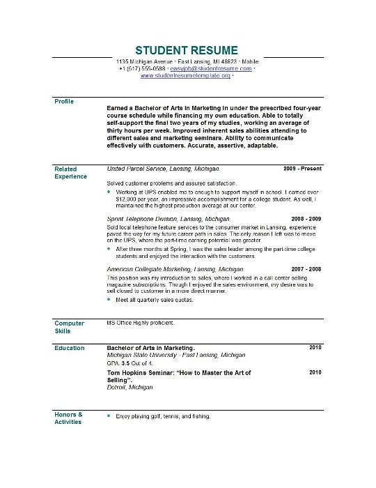 sample high school student resume example