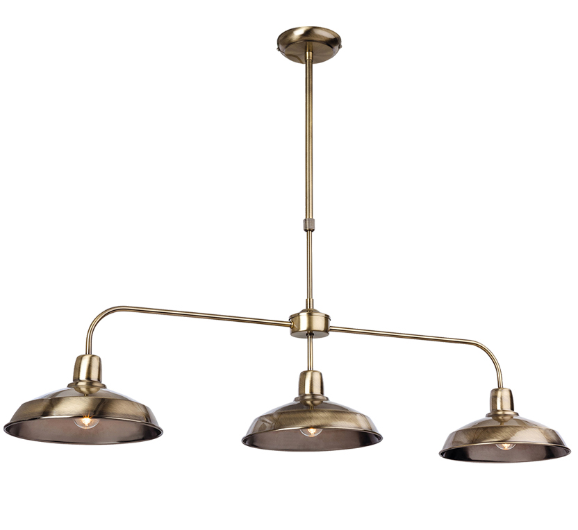 Firstlight 'Lounge' 3 Light Ceiling Pendant, Antique Brass