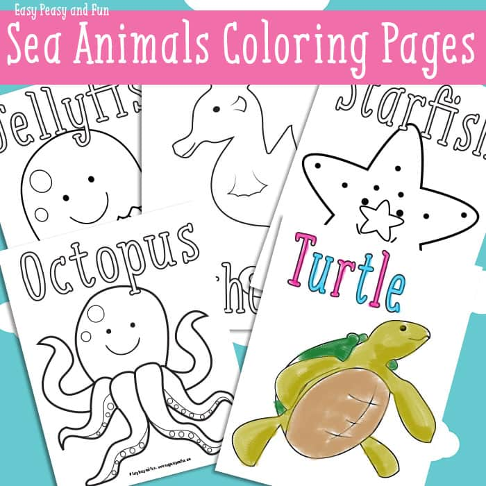 Ocean and Sea Animals Coloring Pages {Free Printable} - Easy Peasy