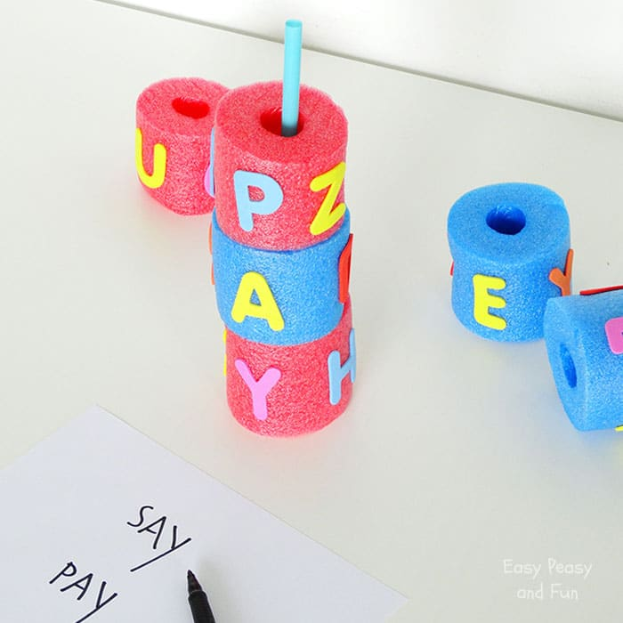 Pool Noodle Word Search - Activities for Kids - Easy Peasy and Fun