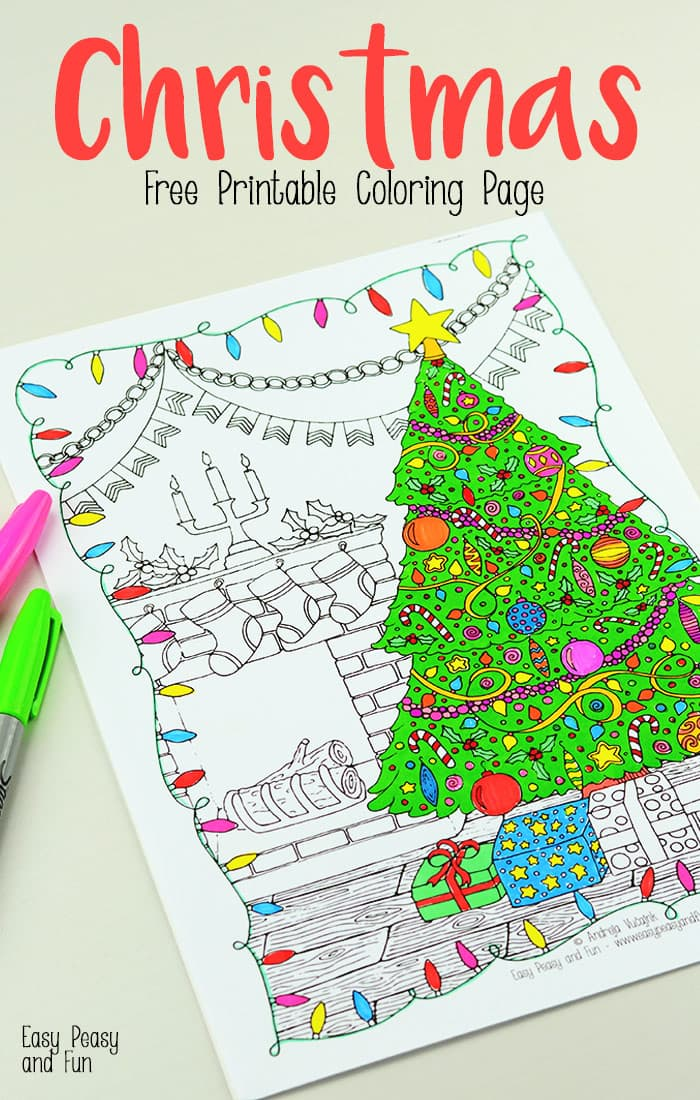 Free Printable Christmas Coloring Page - Easy Peasy and Fun