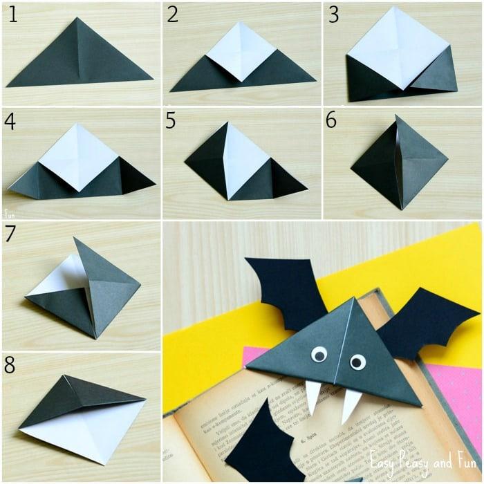 DIY Bat Corner Bookmarks - Halloween Crafts - Easy Peasy and Fun