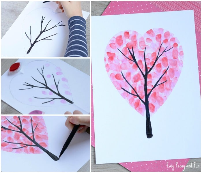 Valentines Day Heart Fingerprint Tree Craft - Easy Peasy and Fun