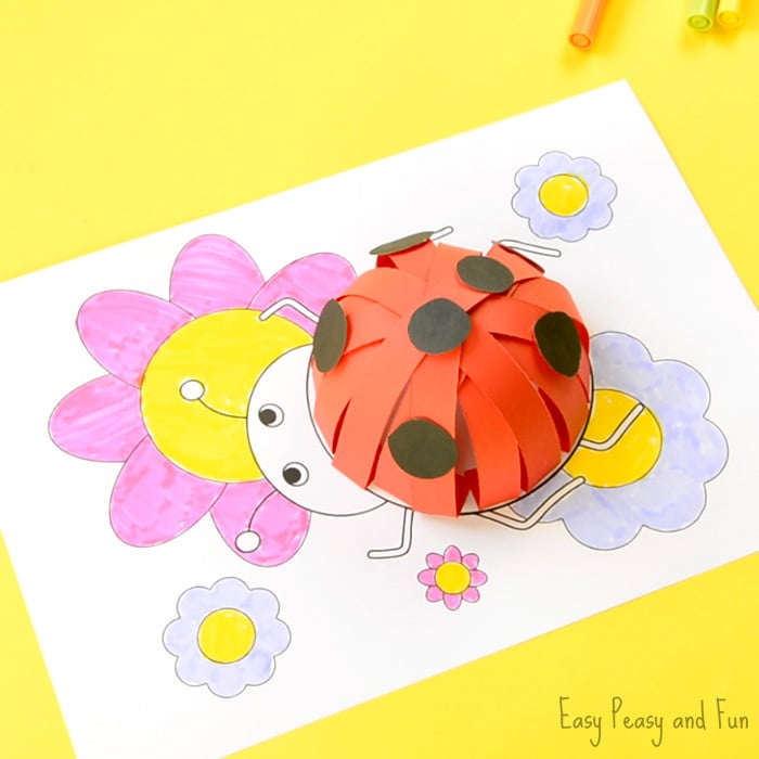 3D Paper Ladybug Craft With Template - Easy Peasy and Fun