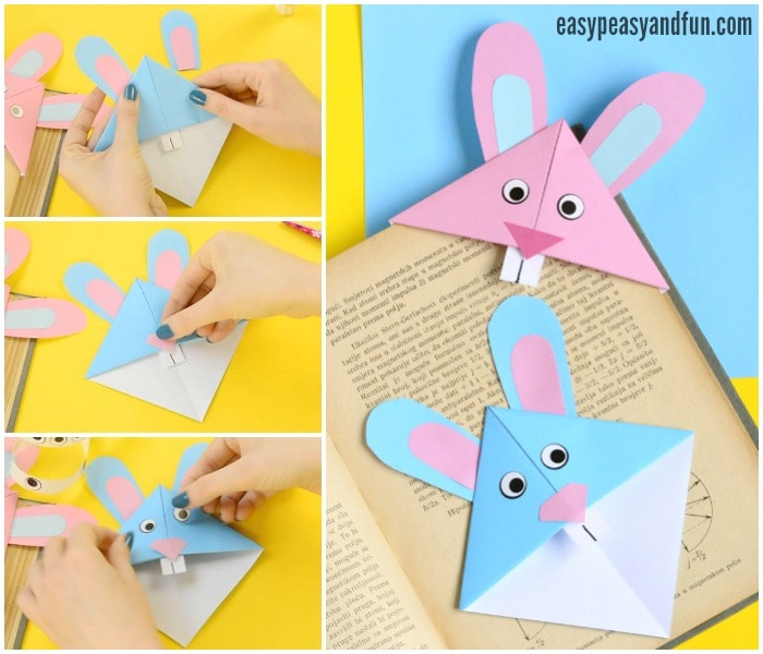 Easter Bunny Corner Bookmark - DIY Origami for Kids - Easy Peasy and Fun