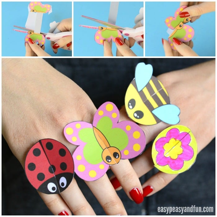 Printable Bug Paper Rings for Kids - Craft Template - Easy Peasy and Fun