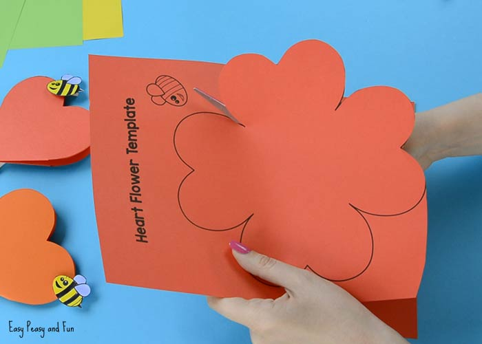 Paper Heart Flower Craft with Template - Easy Peasy and Fun - flower template
